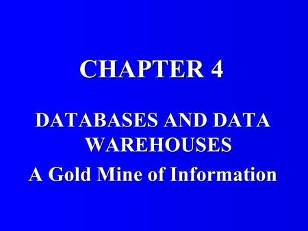 DATABASES AND DATA WAREHOUSES A Gold Mine of Information