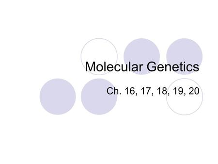 Molecular Genetics Ch. 16, 17, 18, 19, 20. DNA Replication Happens during interphase of mitosis. Semiconservative Replication 3 basic steps  Unwind and.
