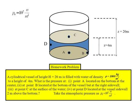 D A C B z = 20m z=4m Homework Problem A cylindrical vessel of height H = 20 m is filled with water of density to a height of 4m. What is the pressure at: