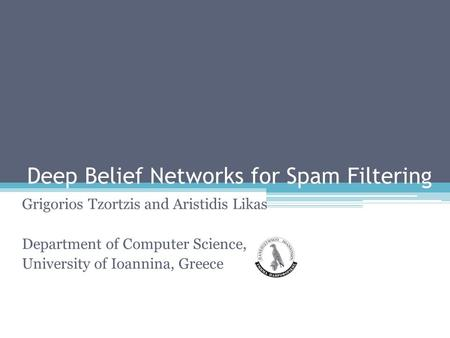 Deep Belief Networks for Spam Filtering