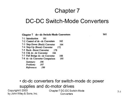 DC-DC Switch-Mode Converters