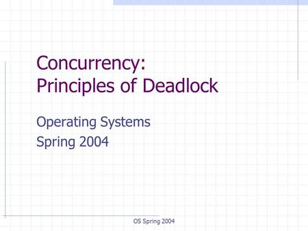 OS Spring 2004 Concurrency: Principles of Deadlock Operating Systems Spring 2004.