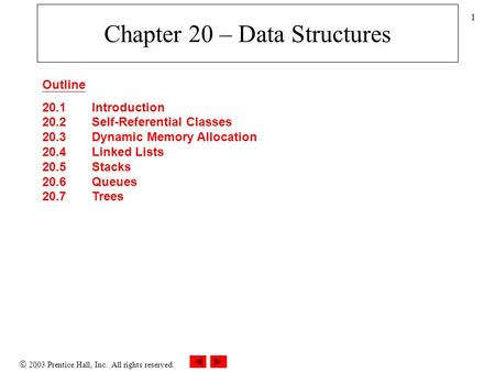  2003 Prentice Hall, Inc. All rights reserved. 1 Chapter 20 – Data Structures Outline 20.1 Introduction 20.2 Self-Referential Classes 20.3 Dynamic Memory.