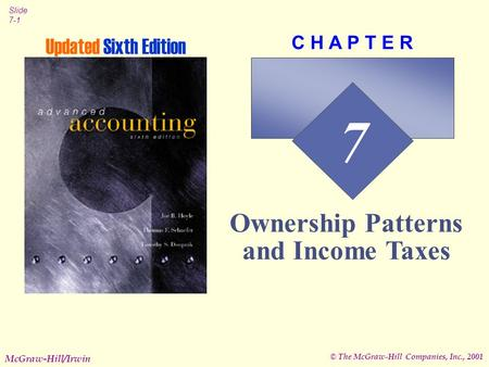 © The McGraw-Hill Companies, Inc., 2001 Slide 7-1 McGraw-Hill/Irwin 7 C H A P T E R Ownership Patterns and Income Taxes Updated Sixth Edition.