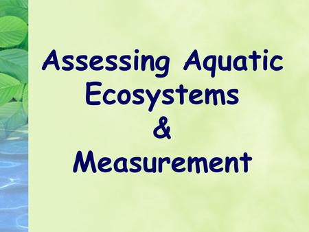 Assessing Aquatic Ecosystems & Measurement. Aquatic Ecosystem Assessment The health of an aquatic ecosystem can be determined by examining a variety of.