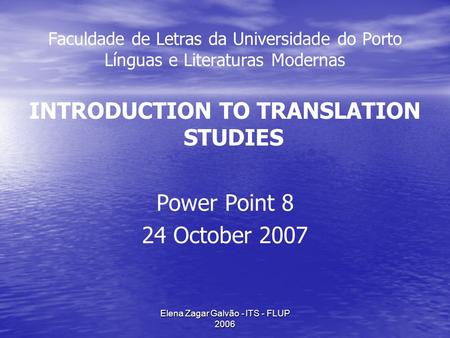INTRODUCTION TO TRANSLATION STUDIES