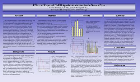 Effects of Repeated GnRH Agonist Administration in Normal Men Carrie Zimmer, M.D. PhD, Robert Rosenfield, M.D. University of Chicago-Pediatric Endocrinology.