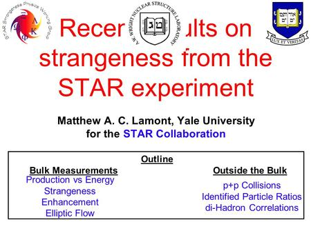 Recent results on strangeness from the STAR experiment Matthew A. C. Lamont, Yale University for the STAR Collaboration Outline Bulk Measurements Outside.