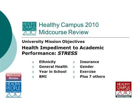 Healthy Campus 2010 Midcourse Review University Mission Objectives STRESS Health Impediment to Academic Performance: STRESS  Insurance  Gender  Exercise.