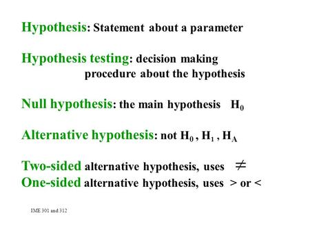 Hypothesis : Statement about a parameter Hypothesis testing : decision making procedure about the hypothesis Null hypothesis : the main hypothesis H 0.