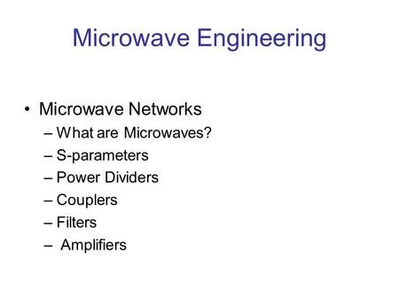 Microwave Engineering