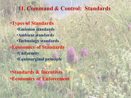 11. Command & Control: Standards Types of Standards Emission standards Ambient standards Technology standards Economics of Standards Uniformity Equimarginal.