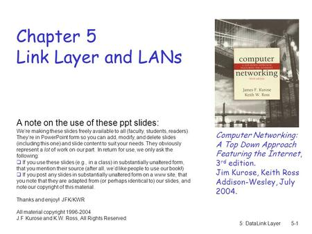 5: DataLink Layer5-1 Chapter 5 Link Layer and LANs Computer Networking: A Top Down Approach Featuring the Internet, 3 rd edition. Jim Kurose, Keith Ross.