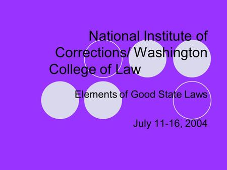 National Institute of Corrections/ Washington College of Law Elements of Good State Laws July 11-16, 2004.