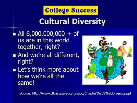 Cultural Diversity All 6,000,000,000 + of us are in this world together, right? All 6,000,000,000 + of us are in this world together, right? And we're.