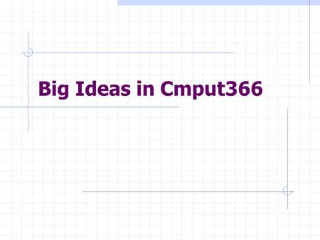Big Ideas in Cmput366. Search Blind Search Iterative deepening Heuristic Search A* Local and Stochastic Search Randomized algorithm Constraint satisfaction.