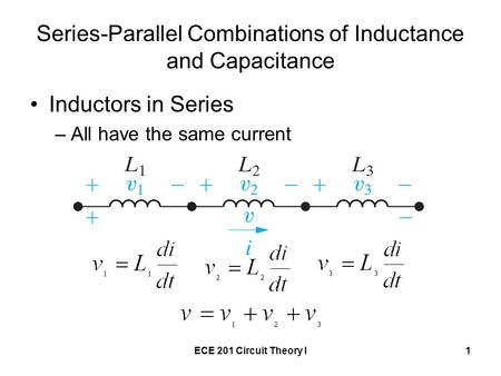 Series-Parallel Combinations of Inductance and Capacitance
