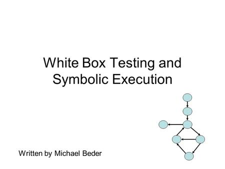 White Box Testing and Symbolic Execution Written by Michael Beder.