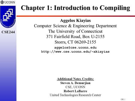 Chapter 1: Introduction to Compiling