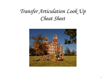 Transfer Articulation Look Up Cheat Sheet 1. To check and see if a course has been articulated and is already in the system, follow the steps below: 1.Access.