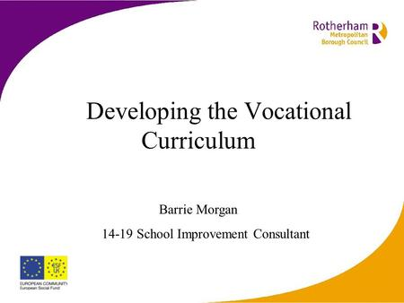 Developing the Vocational Curriculum Barrie Morgan 14-19 School Improvement Consultant.