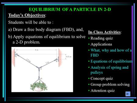 EQUILIBRIUM OF A PARTICLE IN 2-D Today's Objectives: