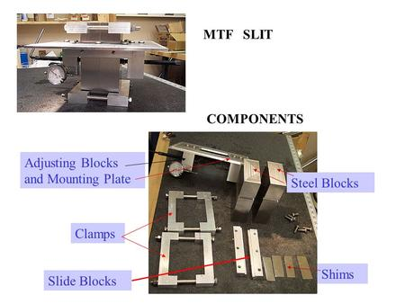 MTF   SLIT COMPONENTS Adjusting Blocks and Mounting Plate Steel Blocks