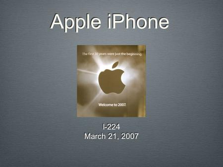Apple iPhone I-224 March 21, 2007 I-224 March 21, 2007.