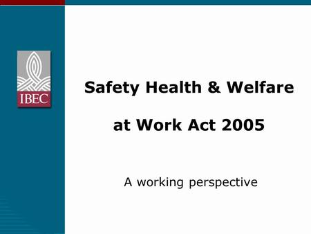Safety Health & Welfare at Work Act 2005 A working perspective.
