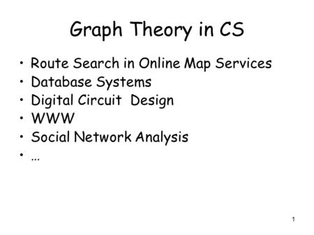 Graph Theory in CS Route Search in Online Map Services