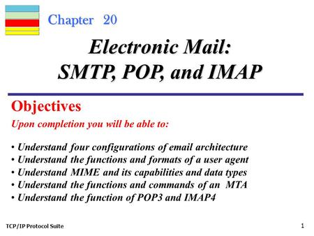 TCP/IP Protocol Suite 1 Chapter 20 Upon completion you will be able to: Electronic Mail: SMTP, POP, and IMAP Understand four configurations of email architecture.