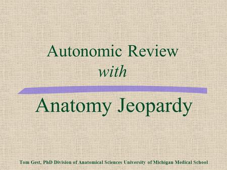 University of michigan medical gross anatomy