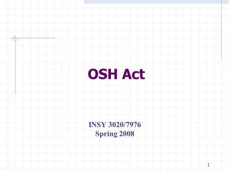 1 OSH Act INSY 3020/7976 Spring 2008 2 OSHAct Occupational Safety and Health Act. President Richard M. Nixon signed this bill into law on December 29,