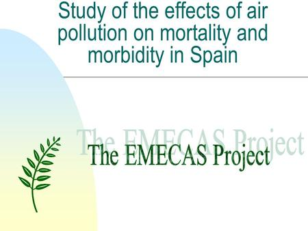 Study of the effects of air pollution on mortality and morbidity in Spain.
