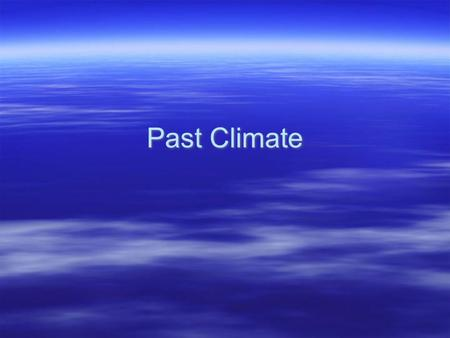 Past Climate.