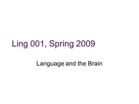 Ling 001, Spring 2009 Language and the Brain. Background Remember some things we have seen thus far: –Abilities in grammar are not directly correlated.