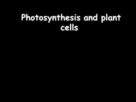 Photosynthesis and plant cells Photosynthesis and plant cells.
