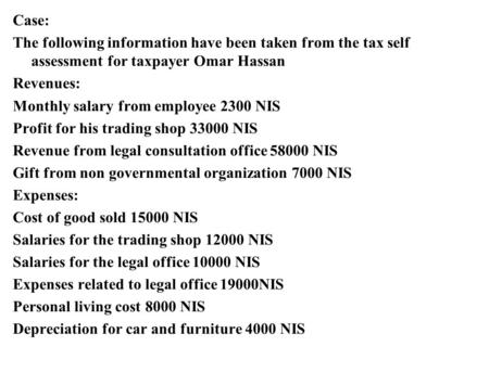 Case: The following information have been taken from the tax self assessment for taxpayer Omar Hassan Revenues: Monthly salary from employee 2300 NIS Profit.