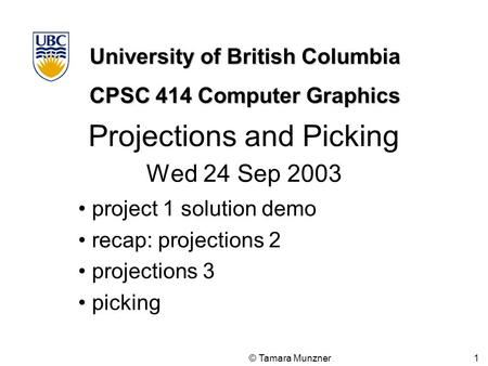 Projections and Picking Wed 24 Sep 2003
