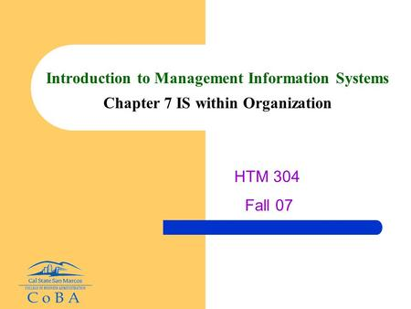 Introduction to Management Information Systems Chapter 7 IS within Organization HTM 304 Fall 07.