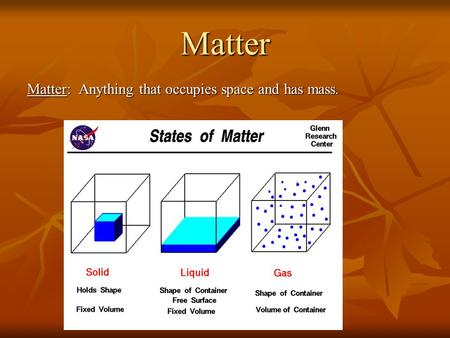 Matter Matter: Anything that occupies space and has mass.