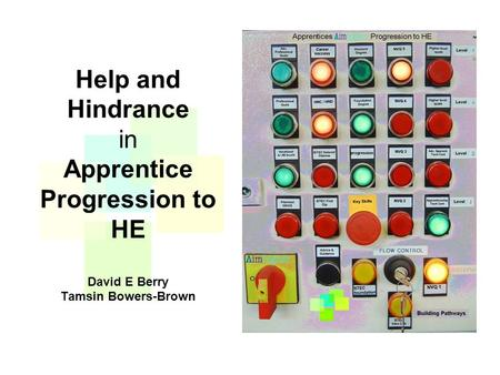 Help and Hindrance in Apprentice Progression to HE David E Berry Tamsin Bowers-Brown.