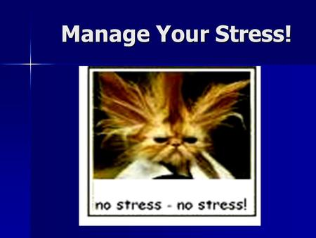 Manage Your Stress!.