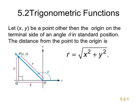 5.2-1 5.2Trigonometric Functions Let (x, y) be a point other then the origin on the terminal side of an angle  in standard position. The distance from.