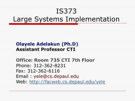 IS373 Large Systems Implementation Olayele Adelakun (Ph.D) Assistant Professor CTI Office: Room 735 CTI 7th Floor Phone: 312-362-8231 Fax: 312-362-6116.