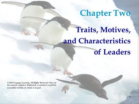 Chapter Two Traits, Motives, and Characteristics of Leaders