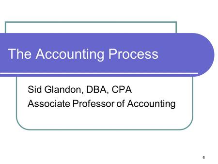 The Accounting Process