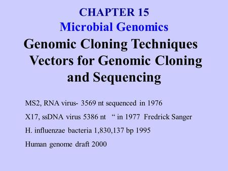 CHAPTER 15 Microbial Genomics Genomic Cloning Techniques Vectors for Genomic Cloning and Sequencing MS2, RNA virus- 3569 nt sequenced in 1976 X17, ssDNA.