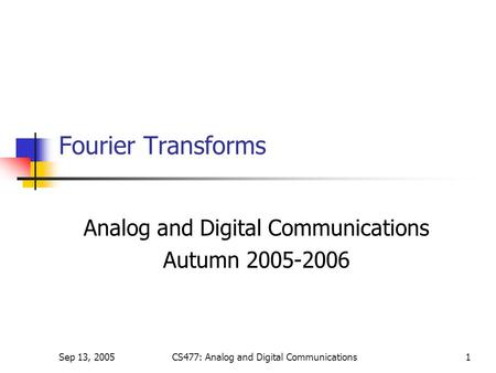 Autumn Analog and Digital Communications Autumn