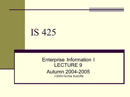 IS 425 Enterprise Information I LECTURE 9 Autumn 2004-2005  2004 Norma Sutcliffe.